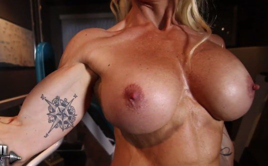 naked out Muscle working girl