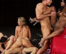 Nude muscle women start an orgy