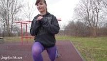 Jeny Smith pantyhose workout