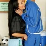 Asian nude fitness model Asa Akira sucks cock after playing football