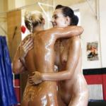 Fuckable girls have an oily catfight turning into sensual lesbian humping - Wrestling porn