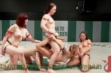 Six on Six Lesbian Wrestling Match