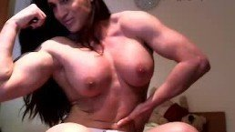 FBB Pecs – Naked muscle girl flexing