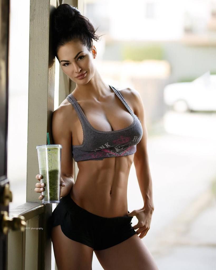 Beautiful sexy brunette fitness girl underwear stock photo