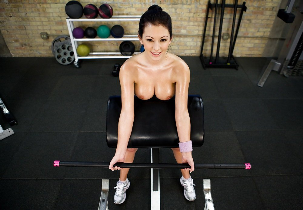 Streaming topless naked gym girl plays with