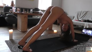 Rebeka nude yoga in my living room stretching her hot body dangling tits a+