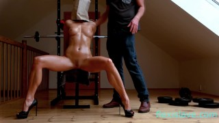 Fitness BDSM model nude whipping