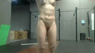 Fit girl beauty nude workout