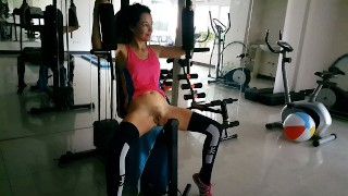 Risky NO PANTIES Exercises at PUBLIC Residential GYM # Naked GYM workout:
