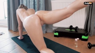 Naughty Teen at the Gym get Caught by Personal Trainer during Naked Workout. OILY SEX WITH STRANGER