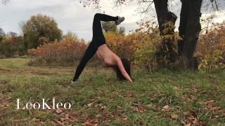 Naked outdoor training with a nude yoga teacher LeoKleo