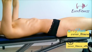 Hot nude fitness girl working out chest